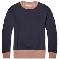 Marni Contrast Rib Crew Sweat Navy And Pink
