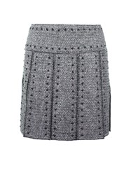Valentino Studded Pleated Mini Skirt Grey