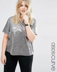 Asos Curve T Shirt In Gold Metallic Gold