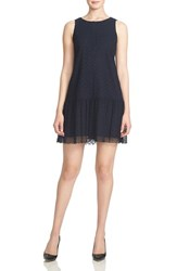 Women's Cece By Cynthia Steffe Drop Waist Eyelet Mesh Shift Dress
