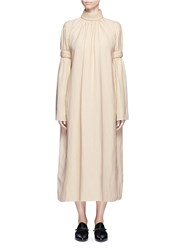Ms Min Piped Panel Linen Blend Twill Dress Neutral