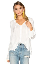 Band Of Gypsies Ruffle Front Peasant Blouse White