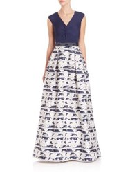 Teri Jon By Rickie Freeman Knot Front Printed Ball Gown Navy