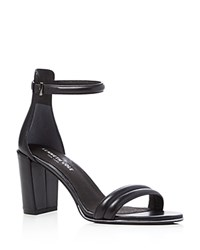 Kenneth Cole Lex Leather Ankle Strap High Heel Sandals Black