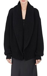 The Row Women's Loretta Chunky Knit Open Front Cardigan Black