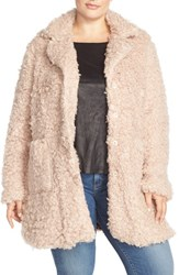 Plus Size Women's Steve Madden Faux Fur Coat Blush