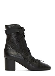 Valentino Cracked Block Heeled Ballerina Boots Black
