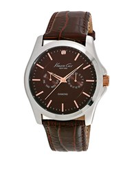 Kenneth Cole Diamond Croc Embossed Leather Watch Brown