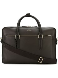 Smythson Front Pocket Briefcase Brown