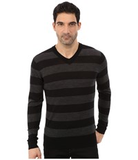 7 For All Mankind Long Sleeve V Neck Stripe Sweater Charcoal Black Men's Sweater