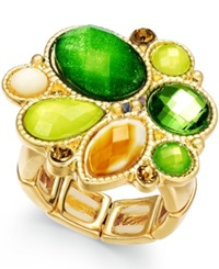 Style And Co. Gold Tone Multi Stone Stretch Ring