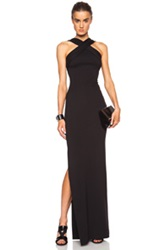 Nicholas Viscose Blend Ponte Cross Front Gown In Black