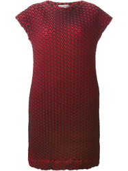 Issey Miyake Geometric Pattern Loose Fit Dress Red