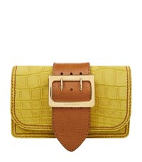 Burberry Shoes And Accessories Nubuck Alligator Buckle Clutch Female Yellow
