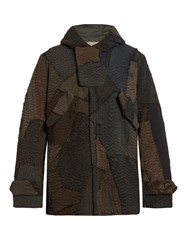 By Walid Patchwork Linen Hooded Parka Grey