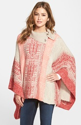 Caslon Cowl Neck Jacquard Poncho Regular And Petite Beige Oatmeal Red Pattern