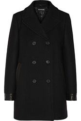 Tom Ford Leather Trimmed Stretch Wool Peacoat