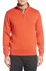 Bobby Jones Men's Windproof Merino Wool Quarter Zip Sweater Orange Tango