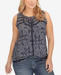 Lucky Brand Plus Size Printed Open Stitched Tank Top Blue