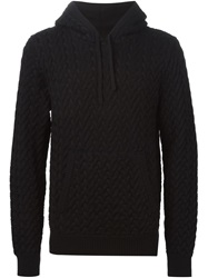 Dolce And Gabbana Cable Knit Hoodie Black