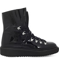 Kenzo Platform Patent Leather Hiking Boots Black