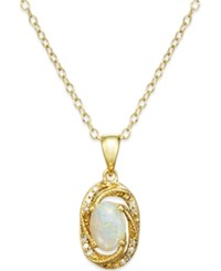 Macy's Opal 3 8 Ct. T.W. And Diamond Accent Pendant Necklace In 14K Gold Over Sterling Silver