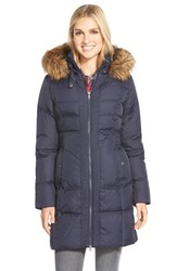 Women's Larry Levine Down And Feather Fill Coat With Faux Fur Trim Midnight
