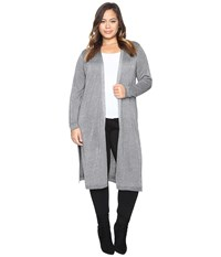 Vince Camuto Plus Size Long Sleeve Lurex Maxi Cardigan Medium Heather Grey Women's Sweater Gray