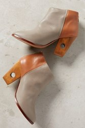 Anthropologie Nina Payne Halsey Cutout Heel Booties Grey Cognac