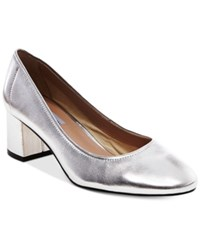 Steve Madden Women's Tomorrow Block Heel Pumps Women's Shoes Silver Leather