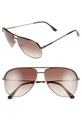 Women's Tom Ford 'Erin' 61Mm Aviator Sunglasses Matte Dark Brown Brown