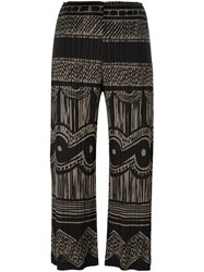 Issey Miyake Pleats Please By Pleated Print Cropped Trousers Black