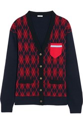 Miu Miu Oversized Argyle Wool Cardigan Burgundy