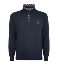 Paul And Shark Check Trim Zip Neck Sweater Male Navy