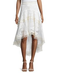 Alexis Belle Embroidered High Low Skirt Pearl White