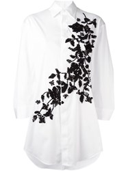 Dsquared2 Oversize Floral Embroidered Shirt White