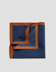 Asos Pocket Square In Navy With Boarder Blue