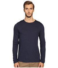 Vince Cotton Modal Mix Stitch Long Sleeve Crew Heather Coastal Coastal Men's Clothing Blue