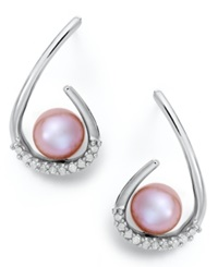 Macy's Sterling Silver Earrings Pink Cultured Freshwater Pearl And Diamond 1 6 Ct. T.W. Drop Earrings
