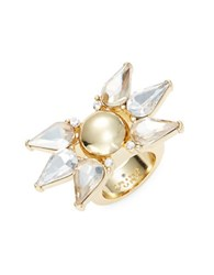 Trina Turk Starburst Faceted Crystal Teardrop Cocktail Ring Gold