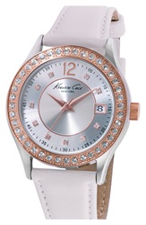 Kenneth Cole Crystal Bezel Leather Strap Watch 38Mm White Rose Gold