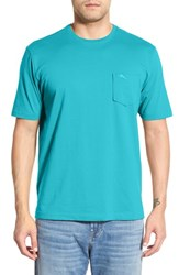 Men's Big And Tall Tommy Bahama 'New Bali Sky' Pima Cotton Pocket T Shirt Aqua Blue