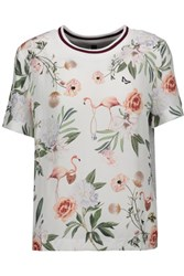 Mother Of Pearl Thane Printed Silk And Cotton Jersey T Shirt Light Gray