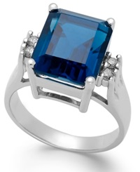 Macy's London Blue Topaz 7 Ct. T.W. And Diamond 1 8 Ct. T.W. Ring In 14K White Gold