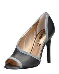 Lanvin Peep Toe D'orsay Pump Black Gray
