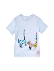Paul By Paul Smith Cat Motif T Shirt Pale Blue