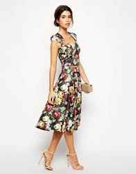 Chi Chi London Floral Print Full Midi Skirt Multi