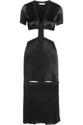 Barbara Casasola Cutout Plisse Satin Midi Dress Black