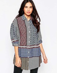Influence Oversized Geo Print Shirt Print