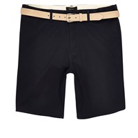 River Island Mens Navy Chino Shorts With Ecru Belt
